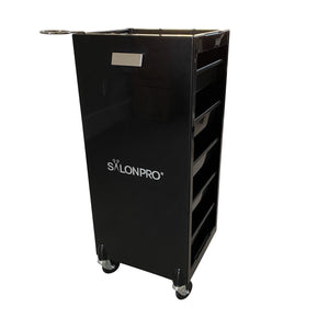 SalonPro 5 Drawer Styling Cabinet Storage & Coloring Trolley w/ Rolling Wheels in Gloss Black