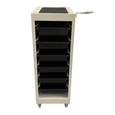 Image of SalonPro 5 Drawer Metal Styling Cabinet Storage & Coloring Trolley w/ Rolling Wheels Styling Trolley SalonPro Equipment