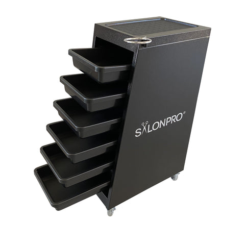 Image of SalonPro 5 Drawer Metal Styling Cabinet Storage & Coloring Trolley w/ Rolling Wheels Styling Trolley SalonPro Equipment Black (In-Stock)