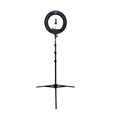 Image of SalonPro LED Adjustable Ring Light for Salon Photography w/ Phone Mount & Mirror Light SalonPro Equipment Black (In-Stock)