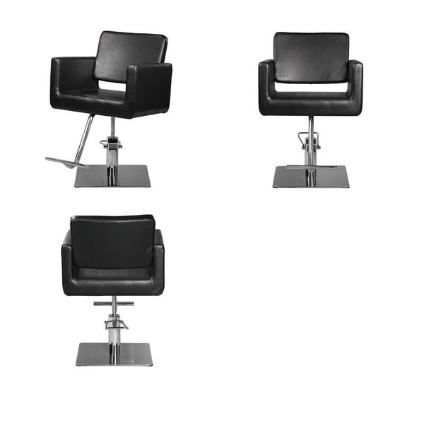 Ikonna Professional Hair Styling Chair in Black w/ Square Base