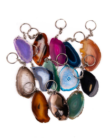 Assorted Agate Slice Keychains