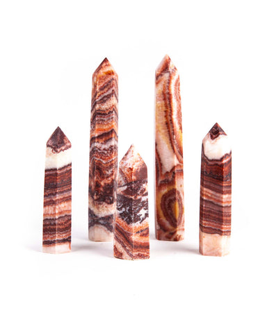 Banded Red Calcite Polished Point