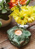 Rough Green Quartz Candle Holder