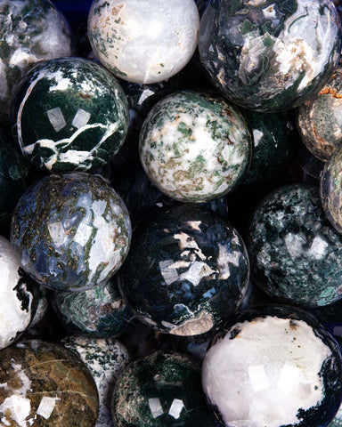 Moss Agate Spheres - 10 lb lot