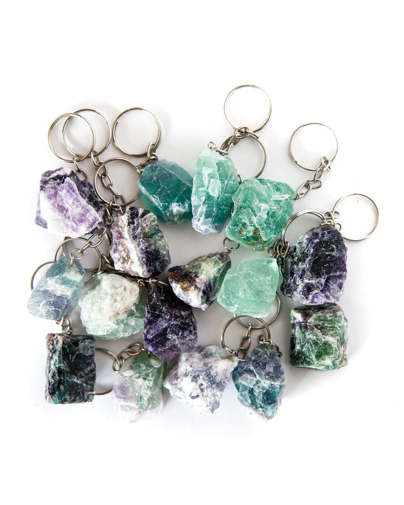 Rough Fluorite Keychains