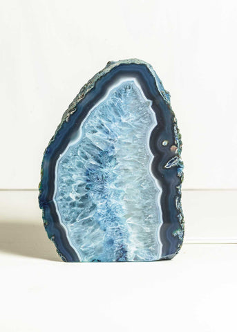 Blue agate geode crystal lamp home decor by SoulMakes