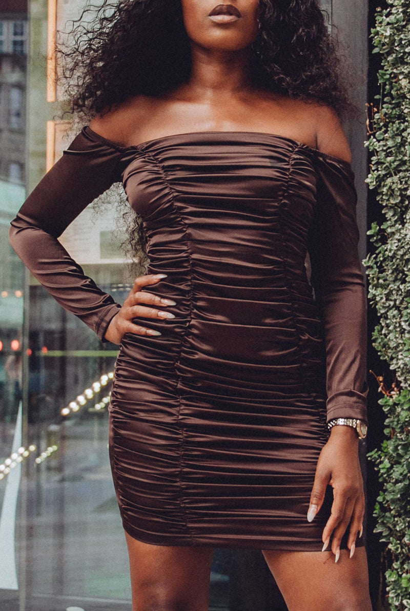 Candice Mocha Ruched Bodycon Mini Dress