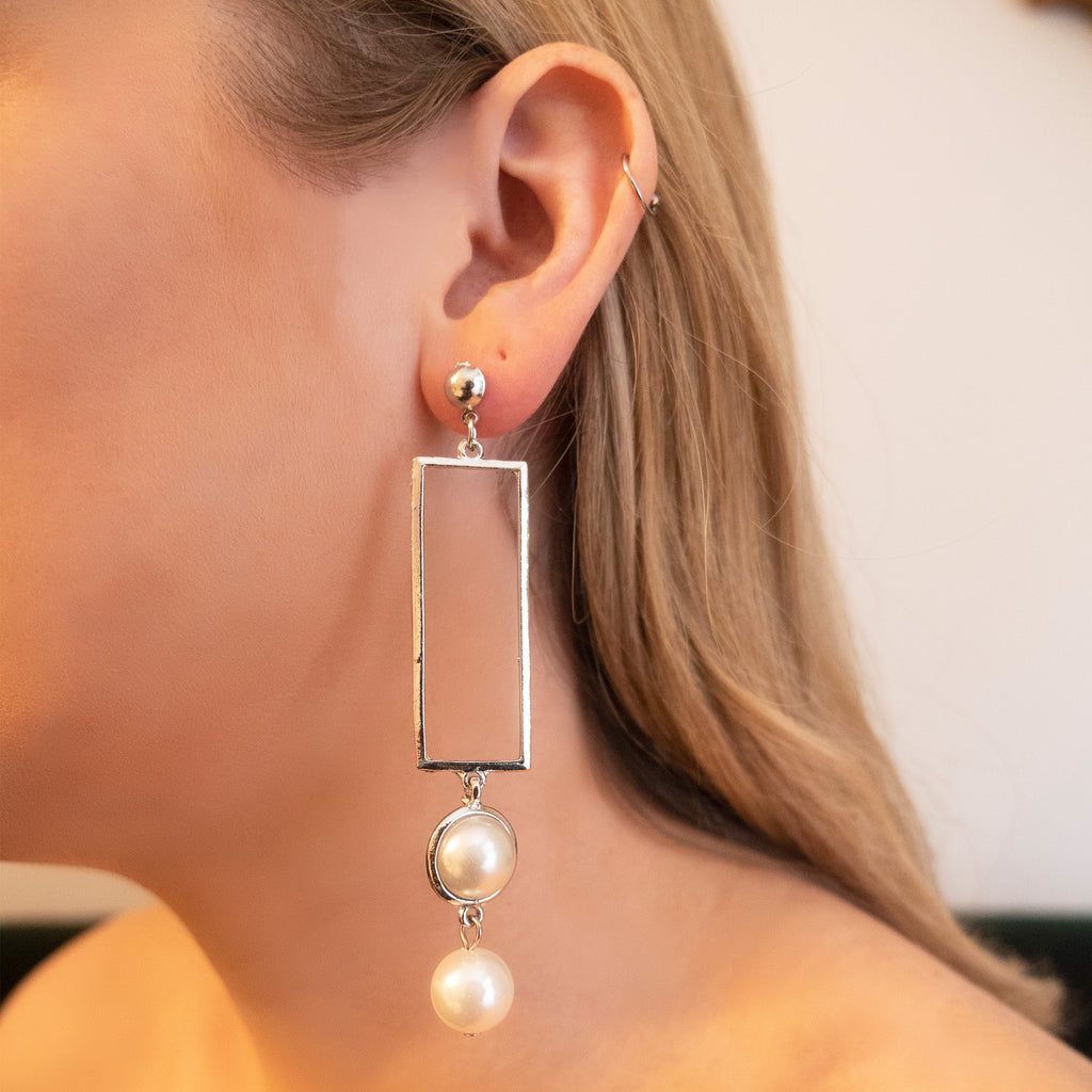 Gigi Pearl Rectangle Earrings