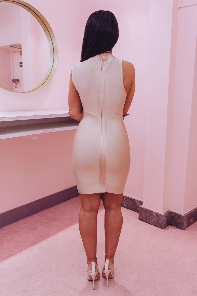 Maya High Neck Off Shoulder Dress In Champagne