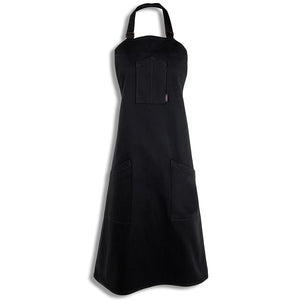 [apron] black full body shot of our [product title] apron by chef angelo sosa with black stitching