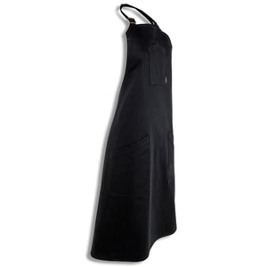 [apron] black angle shot of our [product title] apron by chef angelo sosa with black stitching