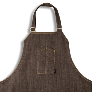 [apron] brown apron close up [product title] by chef angelo sosa