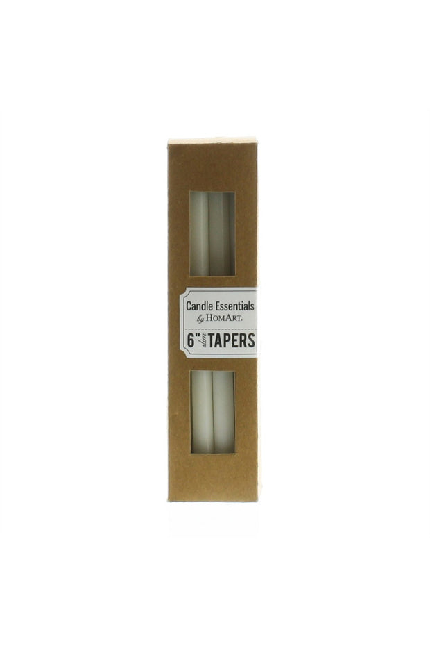 "6"" Taper Candles Box of 12 in Ivory"