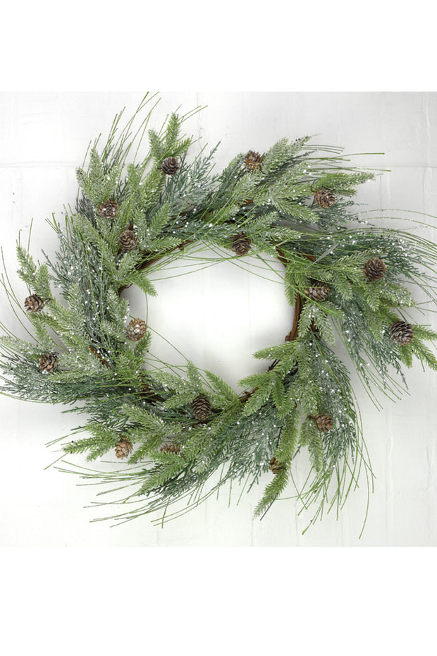 Faux Frosted Mixed Pine Wreath 22""