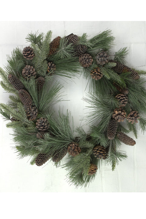 Faux Wreath with Cones 26""