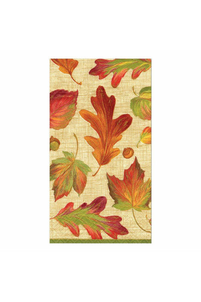 Caspari Linen Leaves Paper Guest Towel Napkins in Natural