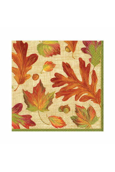 Caspari Linen Leaves Paper Luncheon Napkins in Natural