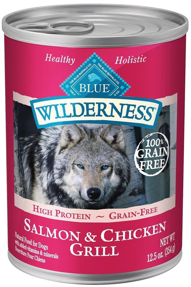 Blue Buffalo Wilderness Grain Free Salmon and Chicken Grill Canned Dog Food