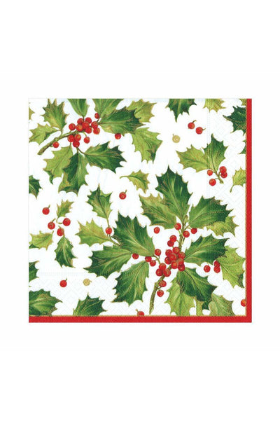 Caspari Gilded Holly Paper Luncheon Napkins in White