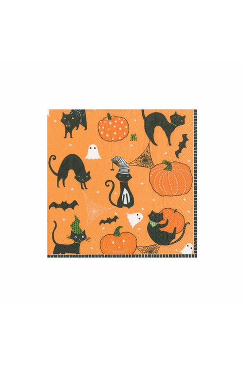 Caspari Cocktail Napkin, Scaredy Cat in Orange