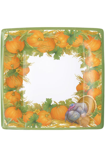 Caspari Thanksgiving Harvest Square Paper Dinner Plates