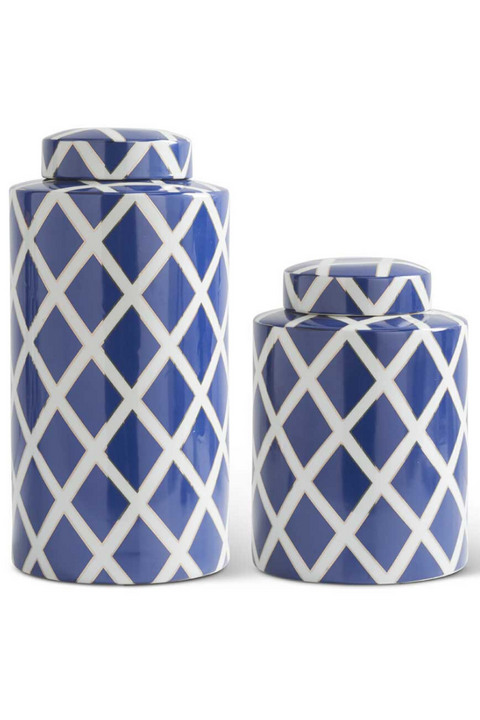 K&K Blue Decorative Jars with Lid