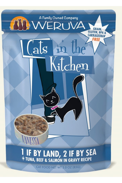 Weruva Cats In the Kitchen 1 If by Land 2 If by Sea Pouch with Tuna, Beef & Salmon in Gravy (3.0 oz)