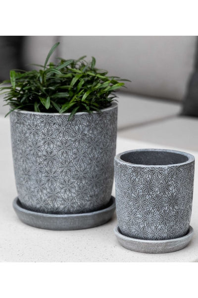 Campania Marguerite Small Round Planter-Etched Grey