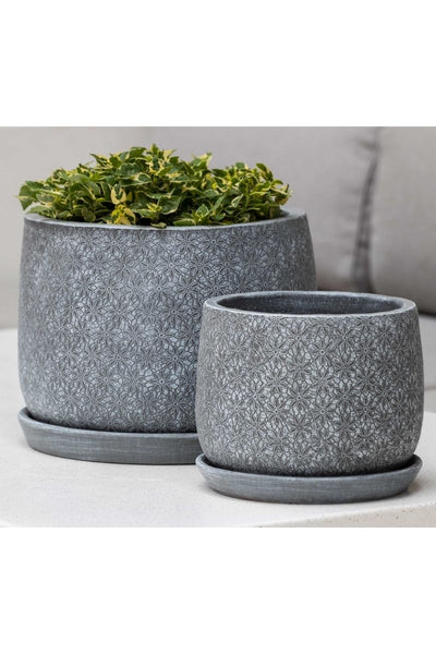 Campania Marguerite Large Round Planter-Etched Grey