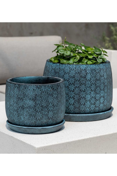 Campania Marguerite Large Round Planter-Etched Blue