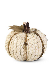 Cream Braided Cornhusk Pumpkin with Grapevine Accents