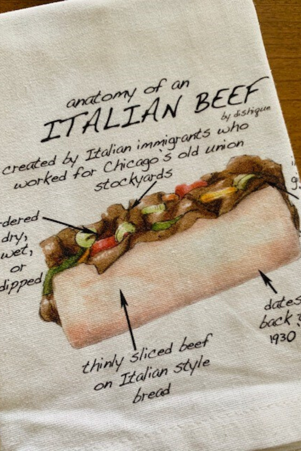 Dish Towel, Anatomy of an Italian Beef