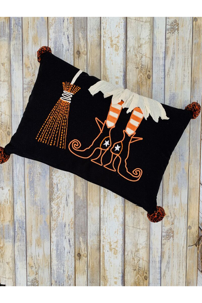 Halloween Pillow, Witch's Boots and Broom
