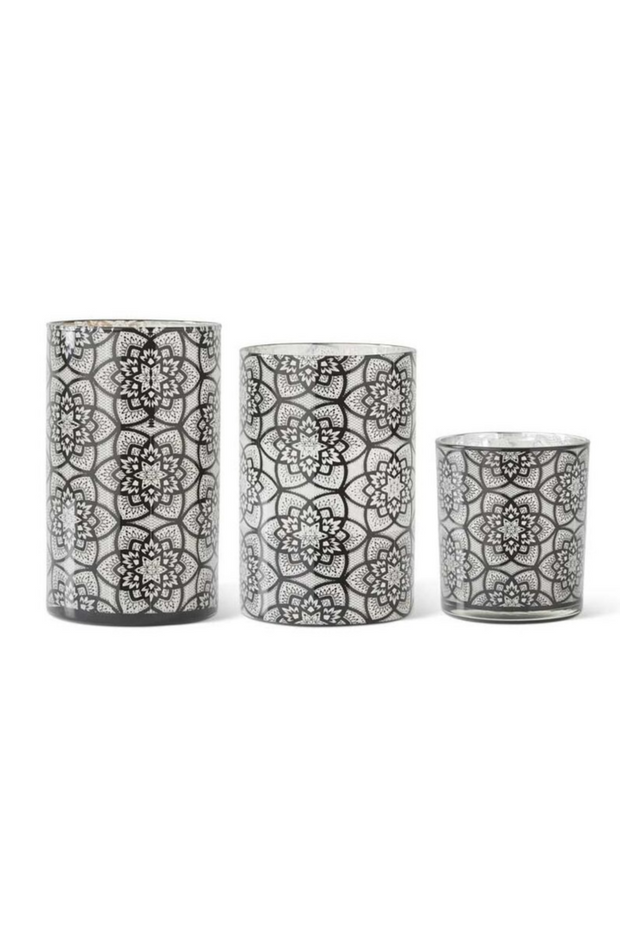 Candleholder, Glass Black Filigree