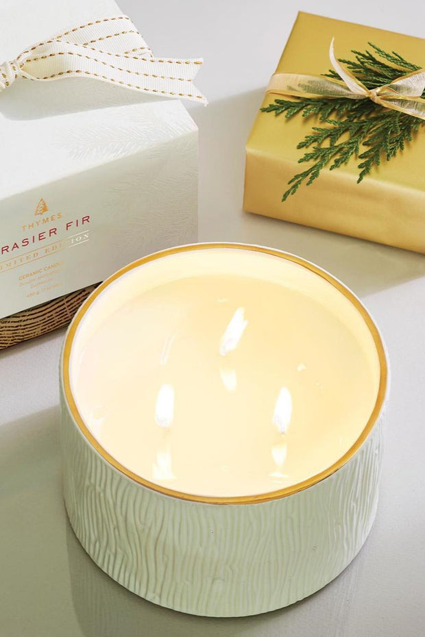 Thymes Frasier Fir Gilded Ceramic 3-Wick Candle