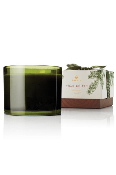Thymes Frasier Fir Green Glass 3-Wick Candle