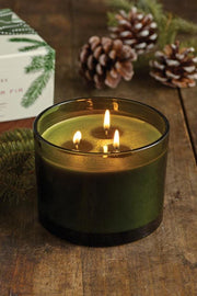 Candle, Frasier Fir Green Glass 3-wick