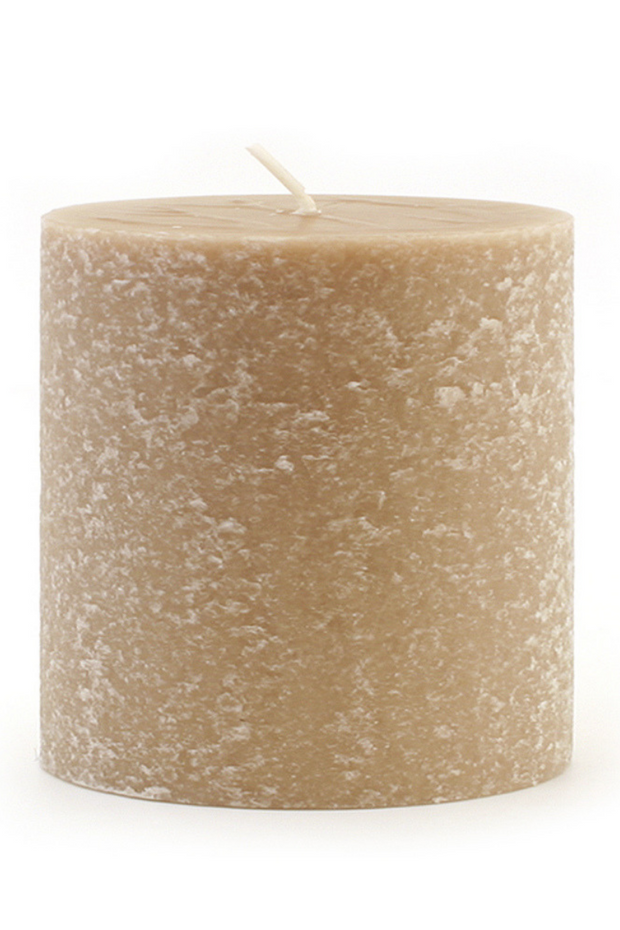 Root Beeswax Pillar Candle 3x3 in Taupe
