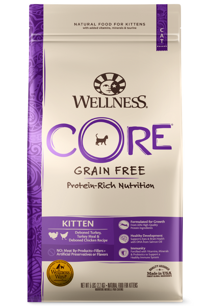 Wellness CORE Grain Free Natural Kitten Health Turkey, Turkey Meal and Chicken Recipe Dry Cat Food