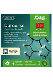 Durawise Compact Twinkle Outdoor LED Lights, Warm White 192