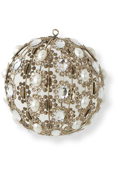 Ornament, Round Metal with Round Pearl & Rhinestone
