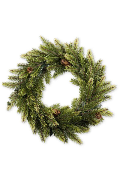 Faux Spruce Wreath with Pinecones 16""