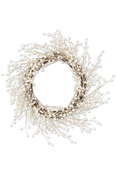 "20"" Gold Glittered Twig Wreath w/Pearls on Vine Base"