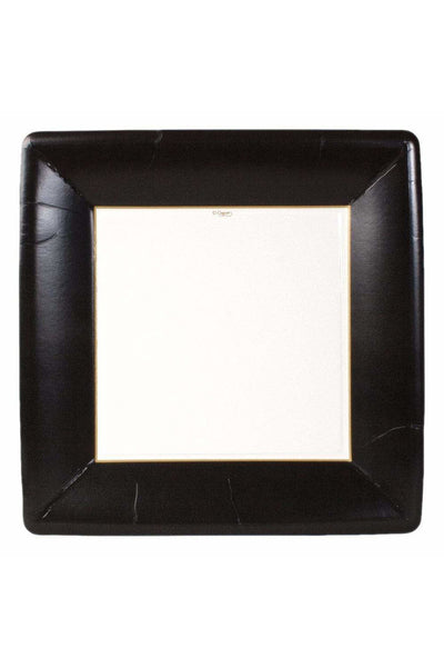 Caspari Grosgrain Square Paper Dinner Plates in Black