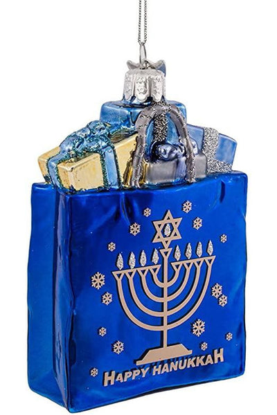 Ornament, Happy Hanukkah Gift Bag Glass