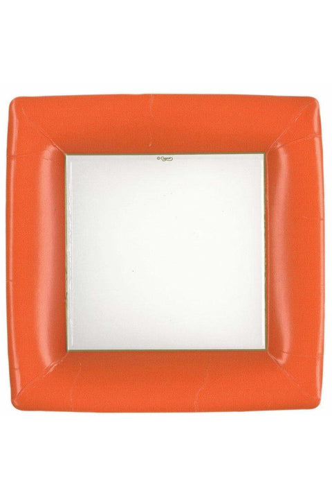 Caspari Grosgrain Square Paper Dinner Plates in Deep Orange