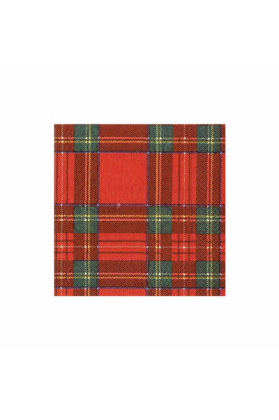 Caspari Royal Plaid Paper Cocktail Napkins