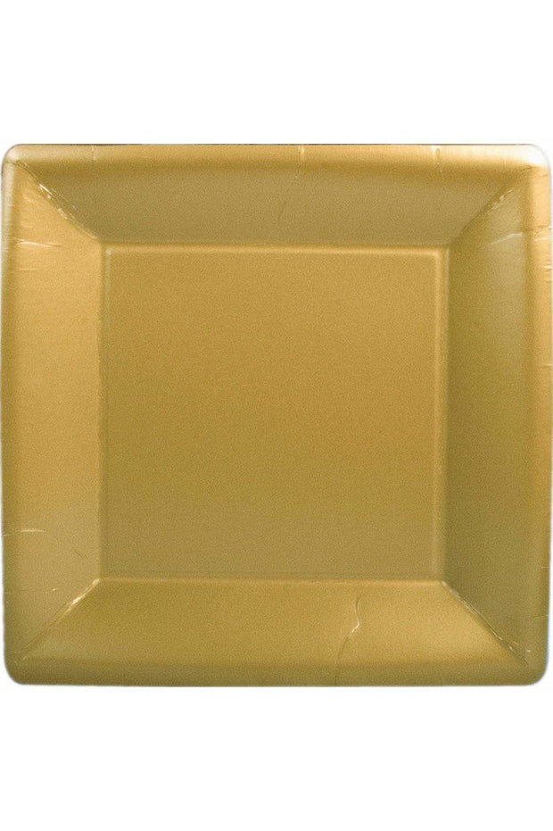 Caspari Solid Square Paper Dinner Plates in Gold