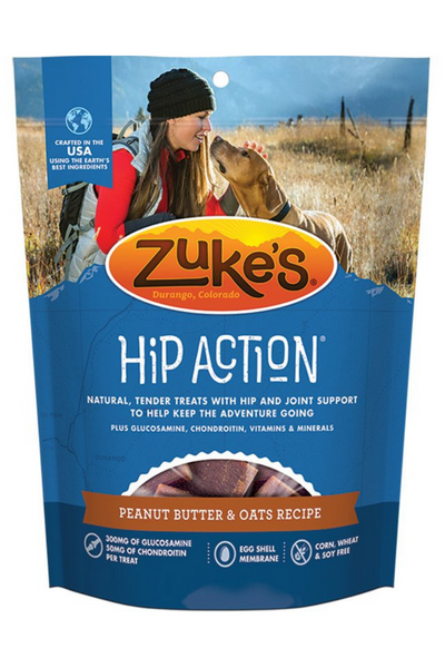 Zuke's Hip Action Peanut Butter and Oats Dog Treats with Glucosamine and  Chondroitin